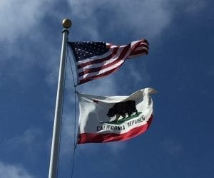 US flag California flag