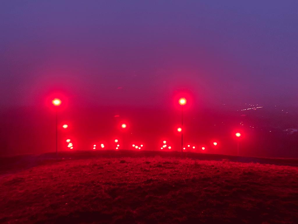 Scheinwerfer auf der Halde Rheinpreussen